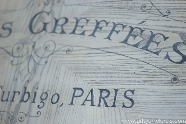 French Typography Coffee Table Makeover - Close up lettering - artsychicksrule.com #milkpaint #chalkpaint #french #typography