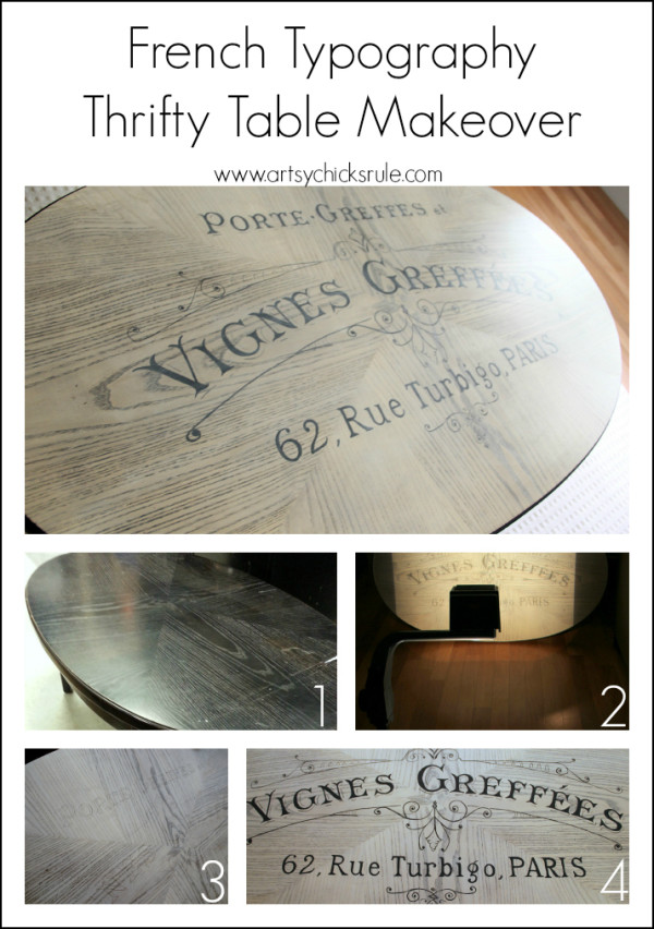 French Typography Coffee Table Makeover - Steps - artsychicksrule.com #milkpaint #chalkpaint #french #whitewash #typography