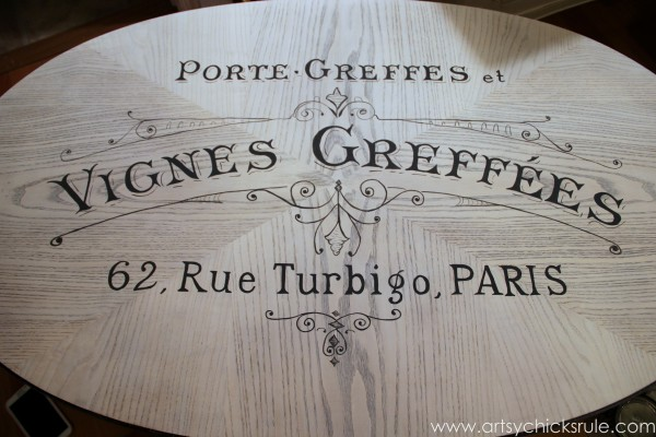 French Typography Table Makeover - Handpainted in - artsychicksrule.com #milkpaint #chalkpaint #french #typography