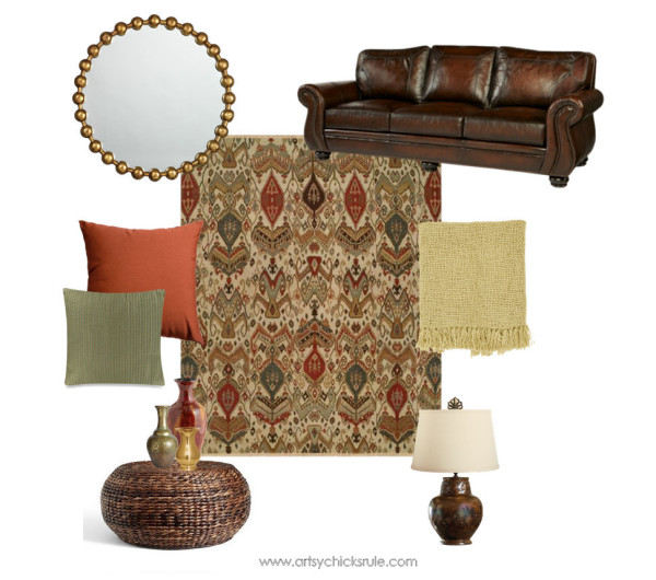 Living Room designed around Kalaty Rugs - Exotic Living Room - Multi Caspian Collection - #ad