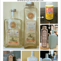 Thrifty Bottle Makeovers {Decoupage & Chalk Paint} - Steps to Create - #decoupage #chalkpaint