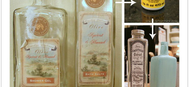 Thrifty Bottle Makeovers {Decoupage and Chalk Paint}