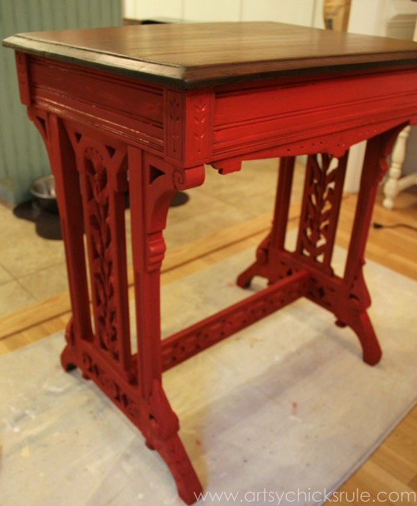 Distressed Old Carved Writing Desk Transformed with Chalk Paint - Emperor's Red Chalk Paint  - #chalkpaint #generalfinishes #javagelstain #makeover artsychicksrule.com