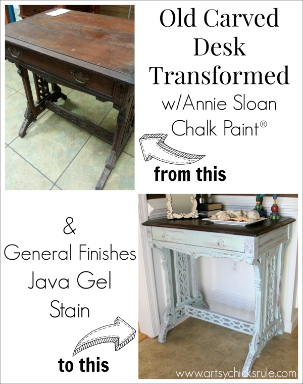 Distressed Old Carved Writing Desk Transformed with Chalk Paint - before and after - #chalkpaint #generalfinishes #javagelstain #makeover