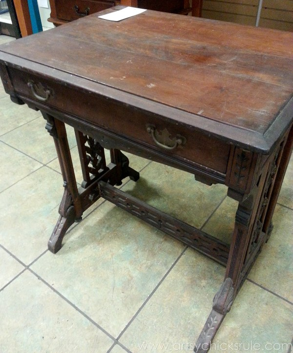 Distressed Old Carved Writing Desk Transformed with Chalk Paint - before front - #chalkpaint #makeover artsychicksrule.com