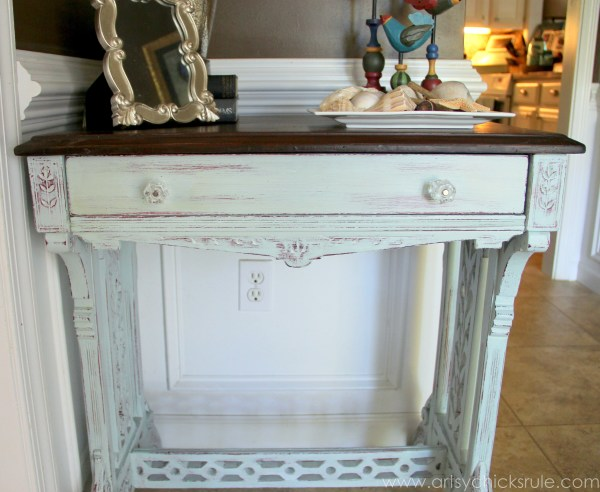 Distressed Old Carved Writing Desk Transformed with Chalk Paint - front - #chalkpaint #generalfinishes #javagelstain #makeover artsychicksrule.com