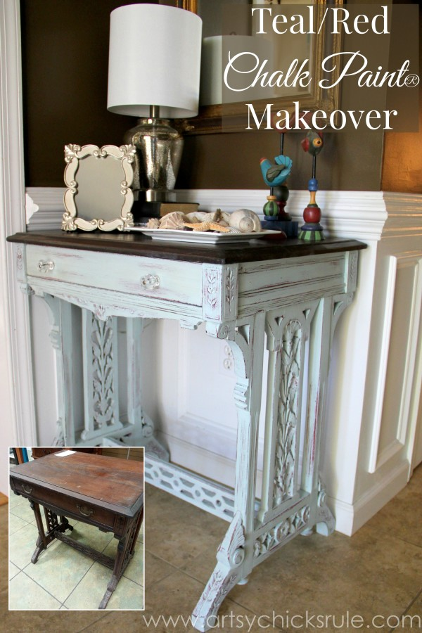 Distressed Old Carved Writing Desk Transformed with Chalk Paint - front side 1 - #chalkpaint #generalfinishes #javagelstain #makeover artsychicksrule.com
