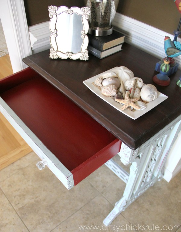 Distressed Old Carved Writing Desk Transformed with Chalk Paint - red drawer side - #chalkpaint #generalfinishes #javagelstain #makeover artsychicksrule.com