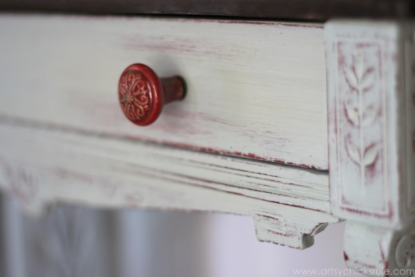 Distressed Old Carved Writing Desk Transformed with Chalk Paint - red knob - #chalkpaint #generalfinishes #javagelstain #makeover artsychicksrule.com