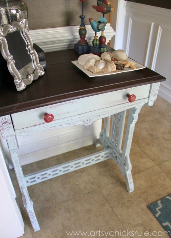 Distressed Old Carved Writing Desk Transformed with Chalk Paint - red knobs - #chalkpaint #generalfinishes #javagelstain #makeover artsychicksrule.com
