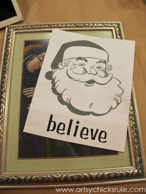 Santa - DIY Believe Sign - Print out and thrifty frame - #Santa #believe #Christmas #holidaydecor #santaclaus artsychicksrule.com