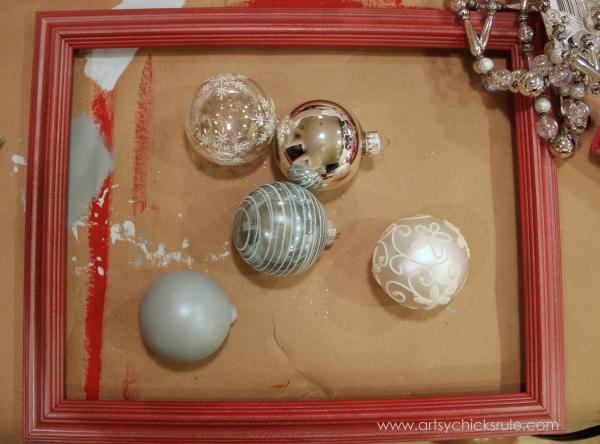Easy, DIY Framed Ornament Wreath - deciding on ornaments - Welcome Home Tour - #wreath #diy #ornamentwreath artsychicksrule.com