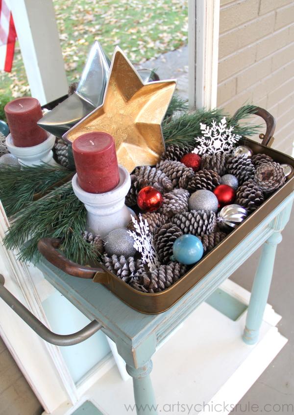 Easy, DIY Framed Ornament Wreath - holiday decor - Welcome Home Tour - #wreath #diy #ornamentwreath artsychicksrule.com