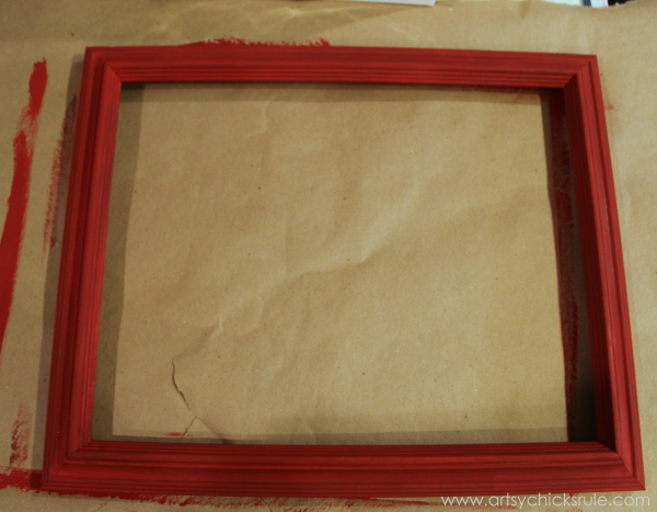 Easy, DIY Framed Ornament Wreath - thrifty frame painted red - Welcome Home Tour - #wreath #diy #ornamentwreath artsychicksrule.com