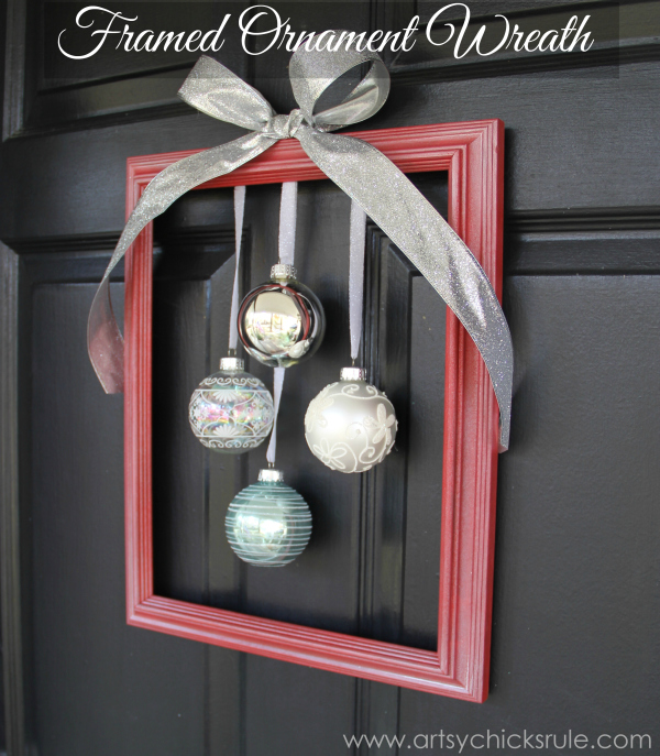 Diy holiday framed ornament wreath welcome home tour Easy christmas decorations to make at home