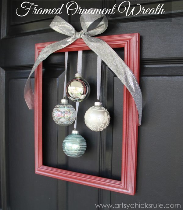 Diy holiday framed ornament wreath welcome home tour for Diy welcome home decorations