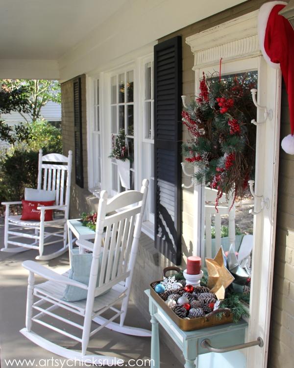Holiday Front Porch Decor - Welcome Home Tour - #wreath #diy #porch #ornamentwreath artsychicksrule.com