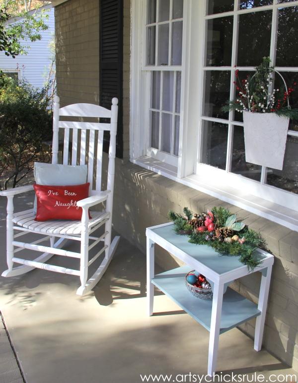 Holiday Front Porch - Welcome Home Tour - #wreath #diy #porch #ornamentwreath artsychicksrule.com