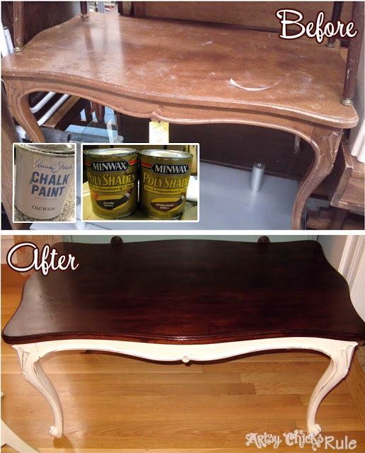 Thrifty Coffee Table Makeover - #chalkpaint #polyshades #minwax #bestof2014 #artsychicksrule artsychicksrule.com