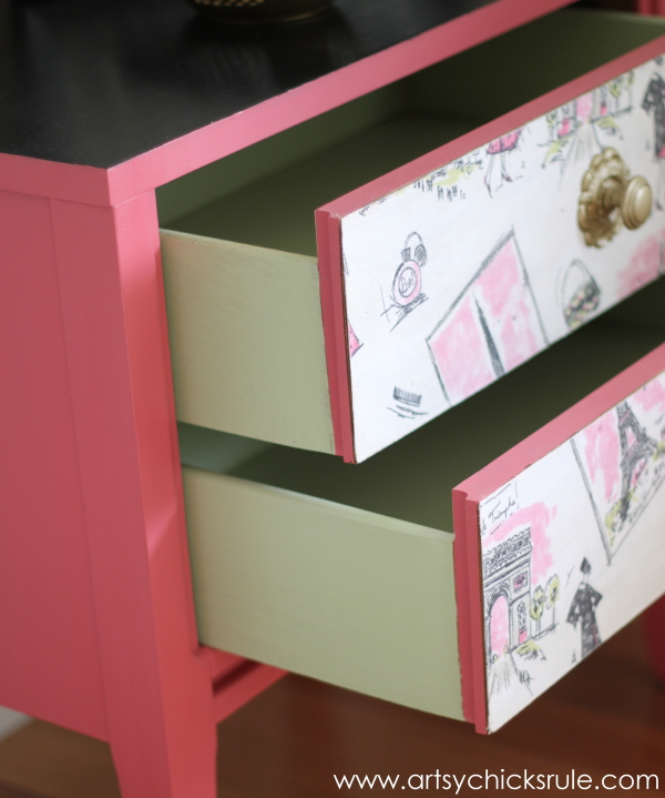 Parisian Nightstand Makeover with Fabric & Chalk Paint - Painted Drawers- #parisian #french #chalkpaint #milkpaint artsychicksrule.com