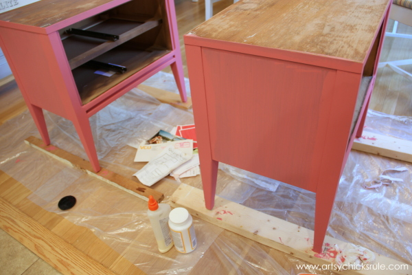 Parisian Nightstand Makeover with Fabric & Chalk Paint - Scandinavian Pink - #parisian #french #chalkpaint #milkpaint artsychicksrule.com