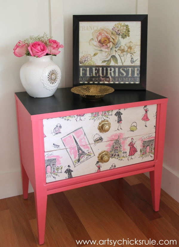 Parisian Nightstand Makeover with Fabric & Chalk Paint - after - #parisian #french #chalkpaint #milkpaint artsychicksrule.com
