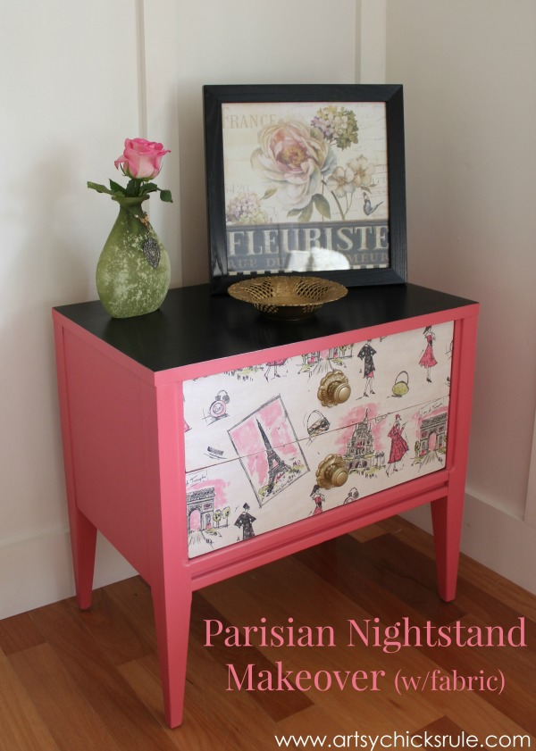 Pretty in Pink Parisian Nightstand Makeover with Fabric & Chalk Paint - #parisian #french #chalkpaint #milkpaint artsychicksrule.com