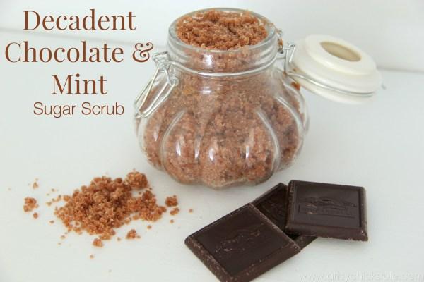 Simple DIY Sugar Scrub Recipes (you can do) - Decadent Chocolate Mint Scrub - #chocolate #peppermint #sugarscrub artsychicksrule.com