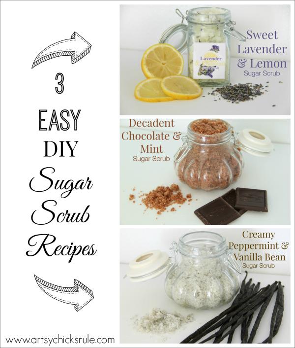 Simple DIY Sugar Scrub Recipes (you can do) - Easy DIY - #diy #recipes #sugarscrub artsychicksrule.com