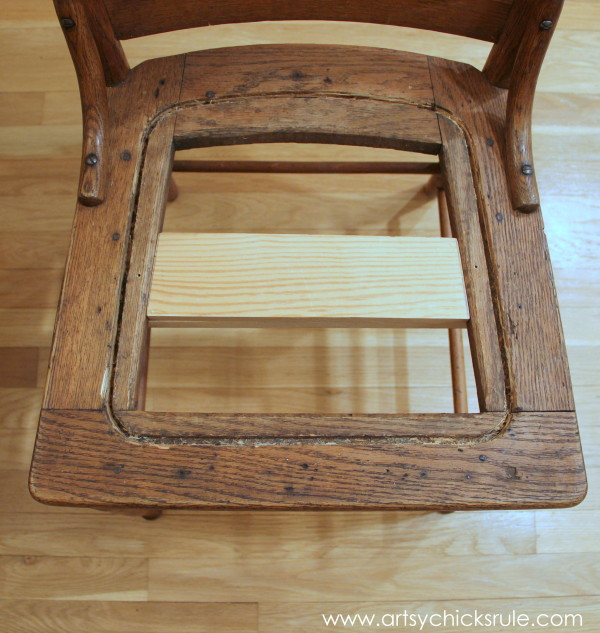 Press Back Chair Update with Java Gel Stain - Bracing added for seat