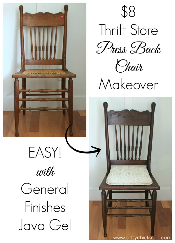 Antique Press Back Wood Chair Update with Java Gel Stain Artsy