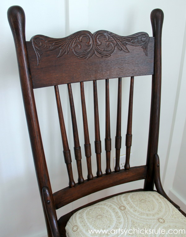Press Back Chair Update with Java Gel Stain - Top Detail After