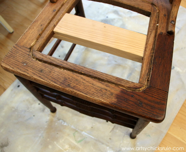 Press Back Chair Update with Java Gel Stain - applying the stain