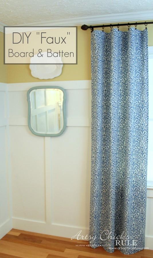 DIY Faux Board and Batten - Front Corner - #diy #boardandbatten artsychicksrule.com