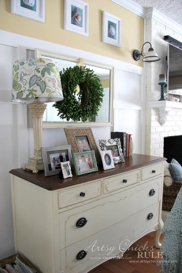 Family Room Makeover - Antique Dresser - #makeover #diy #roommakeover #artsychicksrule artsychicksrule.com
