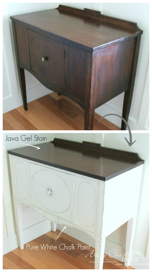 Sideboard Makeover with Java Gel and Chalk Paint - Before and After 1 - #javagel #chalkpaint #anniesloan #makeover artsychicksrule.com