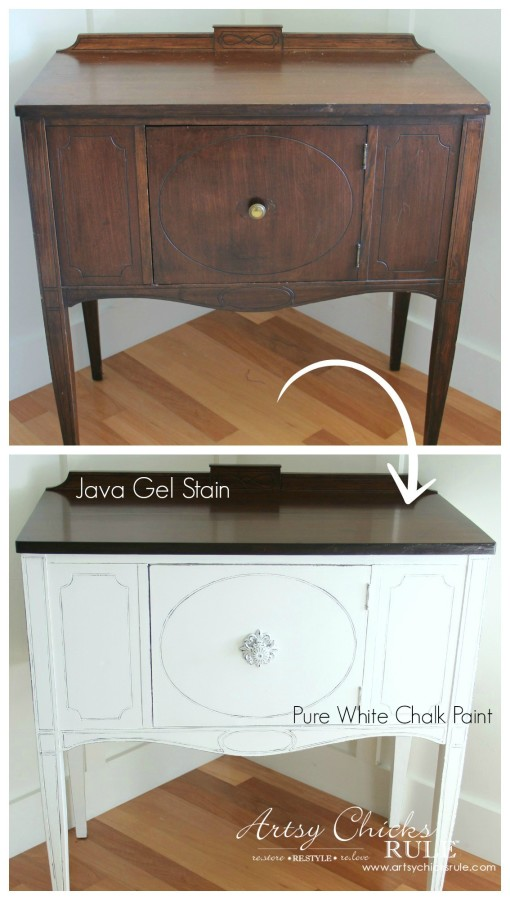 Sideboard Makeover with Java Gel and Chalk Paint - Before and After 2- #javagel #chalkpaint #anniesloan #makeover artsychicksrule.com