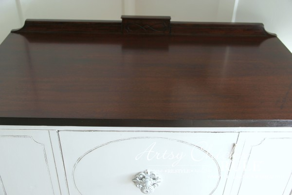 Sideboard Makeover with Java Gel and Chalk Paint - top after - #javagel #chalkpaint #anniesloan #makeover artsychicksrule.com