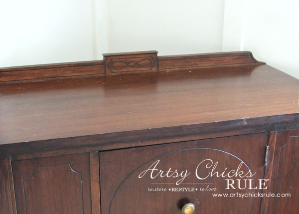 Sideboard Makeover with Java Gel and Chalk Paint - top before - #javagel #chalkpaint #anniesloan #makeover artsychicksrule.com
