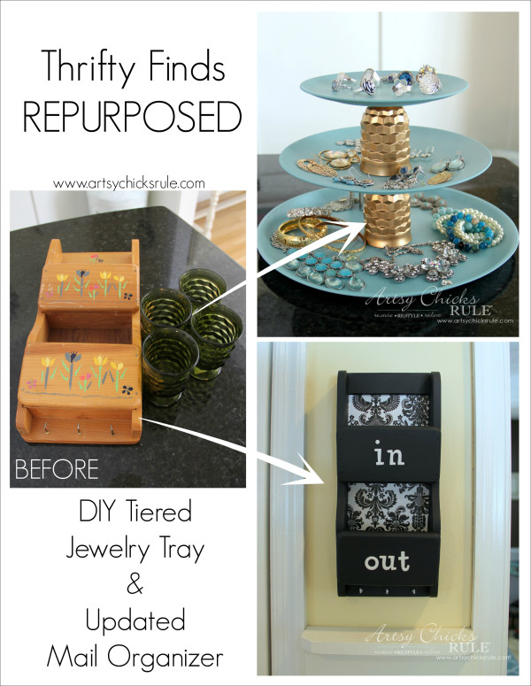 Thrifty Finds Repurposed - Old plastic plates and juice glasses repurposed into a 3 tiered jewelry tray! Dated mail organizer..updated...Easy!!! #repurposed #diy artsychicksrule.com