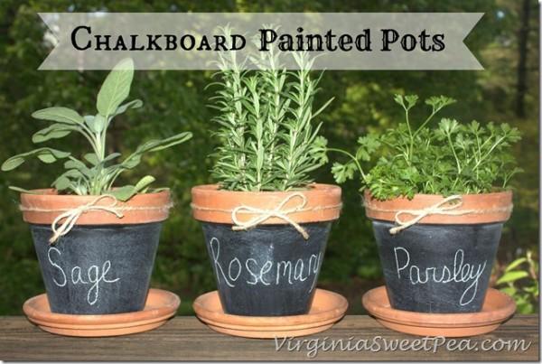 Chalkboard-Paint-Pots Sweet Pea