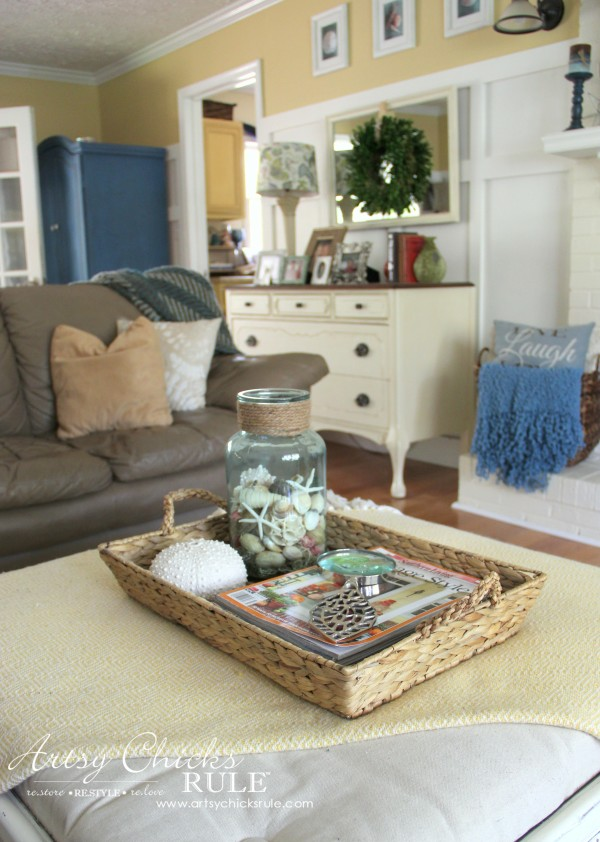 Decorating with Baskets - Functional and Decorative Storage Solution - for magazines and remotes! artsychicksrule.com #baskets