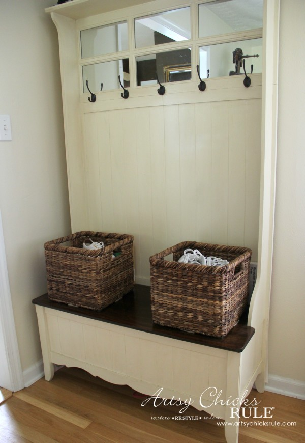 Decorating with Baskets - Functional and Decorative Storage Solution - for shoes by the door! artsychicksrule.com #baskets