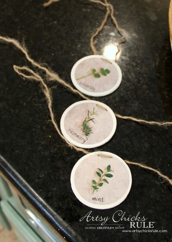 DIY Decorative Clay Pots for Herbs - drill two small holes for the rope -artsychicksrule.com