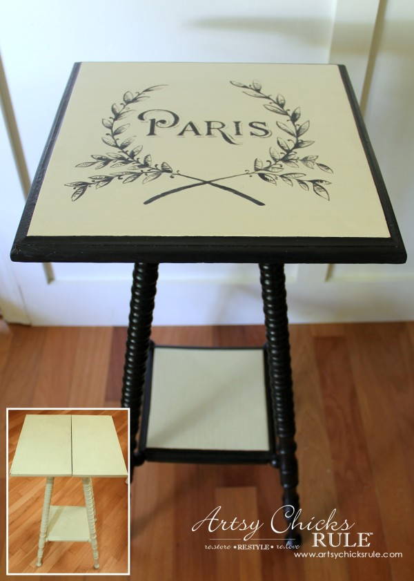 Paris Side Table Makeover - Before and After - #paris #makeover #chalkpaint #milkpaint artsychicksrule.com