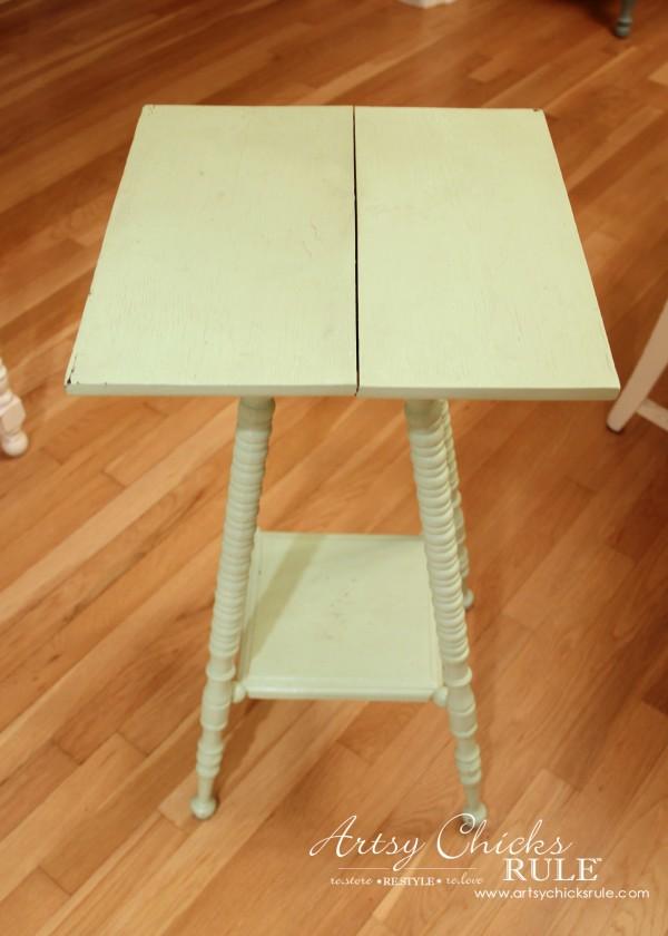 Paris Side Table Makeover - Before - #paris #makeover #chalkpaint #milkpaint artsychicksrule.com