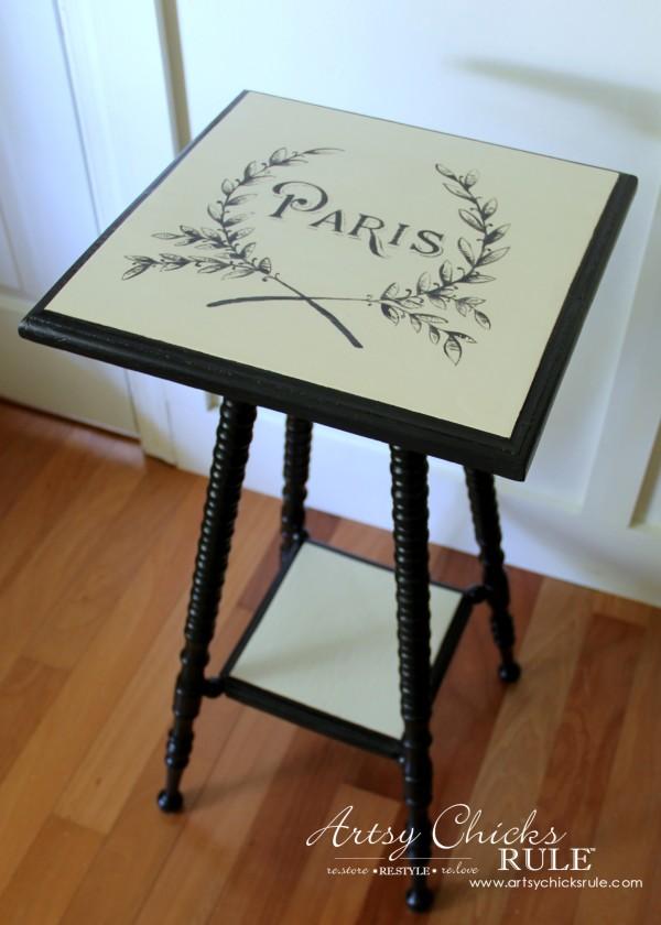 Paris Side Table Makeover - Milk Paint Base - #paris #makeover #chalkpaint #milkpaint artsychicksrule.com