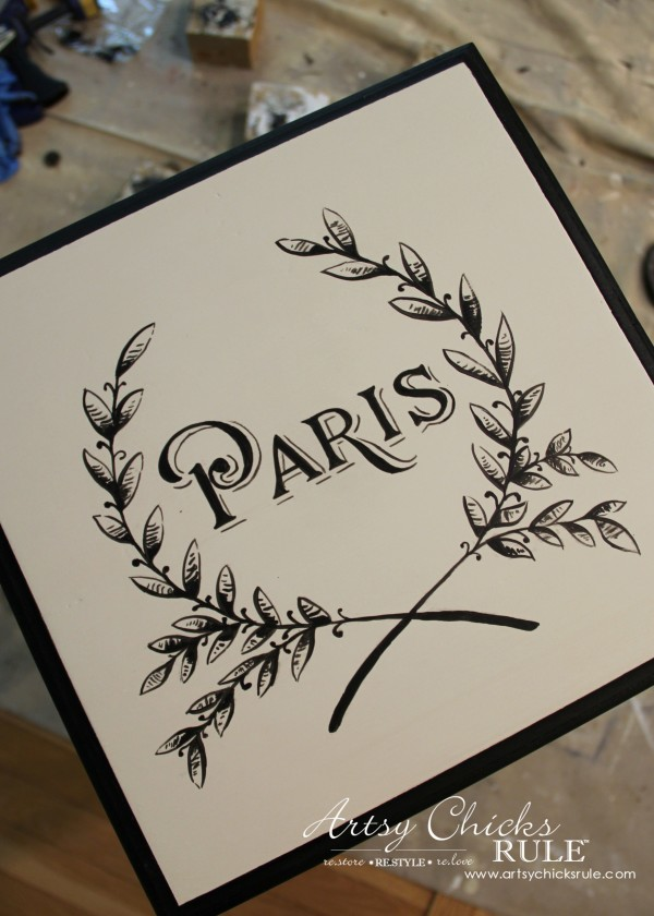 Paris Side Table Makeover - Painted Graphic Before Distressing - #paris #makeover #chalkpaint #milkpaint artsychicksrule.com