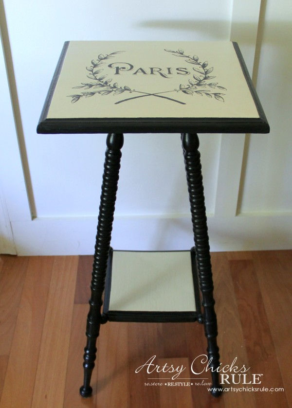 Paris Side Table Makeover - Side View - #paris #makeover #chalkpaint #milkpaint artsychicksrule.com