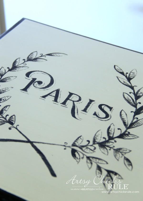Paris Side Table Makeover - Up Close - #paris #makeover #chalkpaint #milkpaint artsychicksrule.com